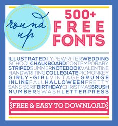 Over 500 FREE fonts for you to download and use straight from your computer! Perfect for craft projects, DIY design, graphic design or even simply to use in your Word documents! #freefonts #fontideas