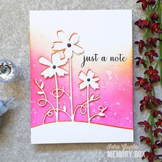 Memory Box Card with distress oxide inks & die-cut the Painted Flower Stems using white cardstock and an orange glitter card Memory Box Cards, Memory Box Dies, Memories Box, Kunst Shop, Orange Glitter, Paper Crafts, Diy Crafts, Spring Theme, Distress Oxide Ink