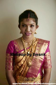 Traditional Southern Indian bride, Hemalatha wears bridal silk saree and jewellery for her Muhurat. Makeup and hairstyle by Swank Studio. #BridalSareeBlouse #SariBlouseDesign #goldjewellery #kamarbandh #jhumkas #jhumkis Silk kanchipuram sari. Tamil bride. Telugu bride. Kannada bride. Hindu bride. Malayalee bride  Find us at https://www.facebook.com/SwankStudioBangalore