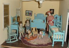 Tynietoy blue painted nursery set with German bisque dolls.  littlethingsloved