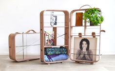 A cabinet and suitcase in one. By   Dutch designer Jolien Hanemaaijer