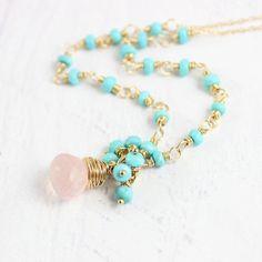 Rose Quartz and Turquoise Gemstone Necklace
