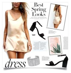 """""""Yoins: Satin Dress"""" by yoinscollection ❤ liked on Polyvore featuring H&M and Art Addiction"""