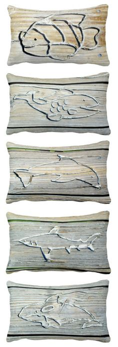 Wood Carving Photo Pillows that Feature Fish, Dolphin, Shark and Whale: http://www.beachblissdesigns.com/2015/07/wood-carving-pillows-dolphin-shark-fish-whale.html