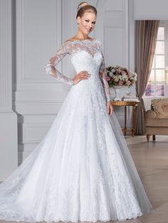 Off-Shoulder-Long-Sleeve-Lace-Wedding-Dresses-Sheer-Back-A-line-vestido-de-noiva-2015-Sexy.jpg