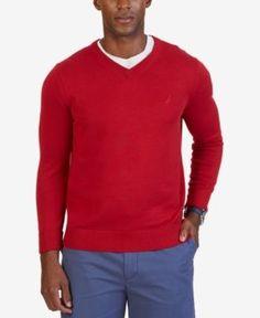 Nautica Men's Big & Tall V-Neck Sweater - Pink 3XLT