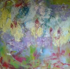 liz doyle summer 1 (with orchids) oil & cwm on canvas 120cm sq