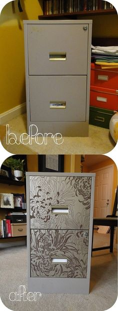 A file cabinet makeover. ~ might be a great way to use all your coloring pages too!
