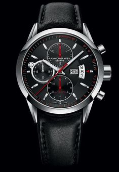 RAYMOND WEIL Genève > Freelancer Mens Watches - Automatic chronograph Steel on black leather strap black dial Swiss Luxury Watches, Swiss Army Watches, Cool Watches, Watches For Men, Wrist Watches, Men's Watches, Herren Chronograph, Raymond Weil, Skeleton Watches