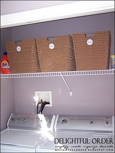 Small Laundry Room Solutions.  Perfect for our little house and laundry room.