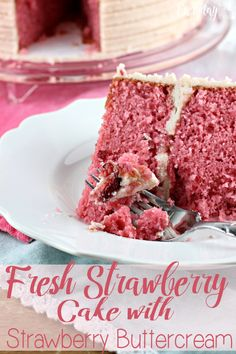 This Fresh Strawberry Cake with Strawberry Buttercream is going to be a strawberry lovers dream come true! This cake is made with fresh strawberries in the mix, as well as in the buttercream! You can't get any more strawberry flavor in a from scratch cake!   EverydayMadeFersh.com