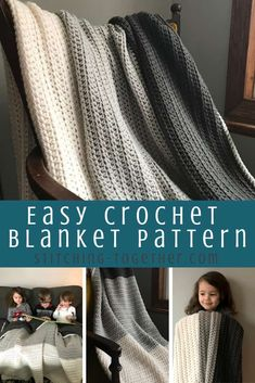 Don't you love a good and simple half double crochet blanket pattern? This moder… Don't you love a good and simple half double crochet blanket pattern? This modern blanket will look great with any home decor. Get the free pattern now. Crochet Stitches For Blankets, Crochet Afghans, Afghan Crochet Patterns, Baby Blanket Crochet, Knit Crochet, Modern Crochet Blanket, Crochet Mandala, Crochet Throw Pattern, Cable Knit Blankets