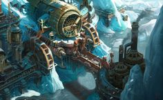 Ice Steampunk town, yeonji Rhee on ArtStation at… Steampunk City, Arte Steampunk, Steampunk Theme, Steampunk House, Steampunk Cosplay, Space Fantasy, Fantasy World, Fantasy Art, Steampunk Wallpaper