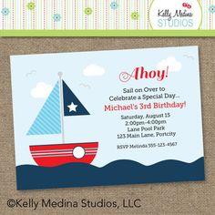 Nautical Sailboat Birthday Printable by Kellymedinastudios