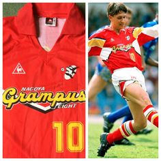 Nagoya Grampus Eight shirt as worn by Gary Lineler 1992/93 £59.99 on website www.classicfootballshirtscouk.com