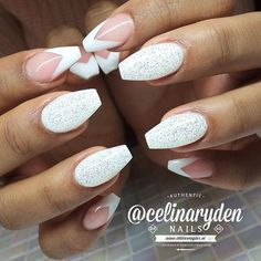 white diamond glitter and french manicure nails Fall Nail Designs, Cute Nail Designs, French Nails, Hot Nails, Hair And Nails, Manicure, Ballerina Nails, Super Nails, Nagel Gel
