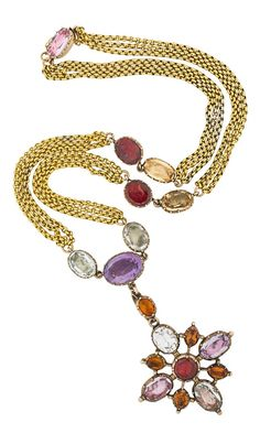 """GEORGIAN MULTIGEM GOLD CRUCIFORM NECKLACE, CIRCA 1830. The detachable cross pendant and chain with faceted foil backed gems in closed cut back settings. Gems include topaz, amethyst and garnet. Unmarked. 16"""", pendant drops 1 3/4"""". #Georgian #antique #necklace"""
