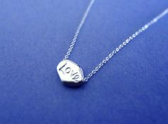 Simple Dainty, Love Stone, Sterling Silver Chain, Necklace | simplecrystal - Jewelry on ArtFire