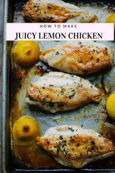 The simplest way to cook juicy chicken breasts, with rosemary and roasted lemons. #chicken #lemon #chickenbreast