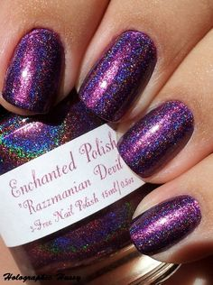 Enchanted Polish Razzmanian Devil -Purple is my favorite color and I love holographic polish.