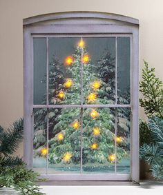 This Glistening Pines Lighted Canvas by Ohio Wholesale, Inc. is perfect! #zulilyfinds on old window