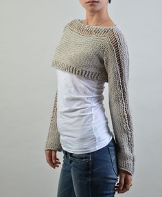 Hand knit sweater Little shrug cover up top $58
