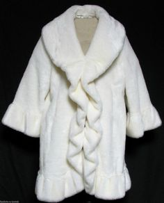 Terry Lewis Classic Luxuries Faux Fur Coat Shimmering White w/Ruffles Size L #TerryLewis #BasicCoat