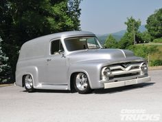 1955 #Ford Panel #Truck: The Rest Of The Story - The Story in the Background Is as Unique as the Truck in the Foreground! - See More Pictures Here: http://www.classictrucks.com/features/1211clt_1955_ford_panel_truck/