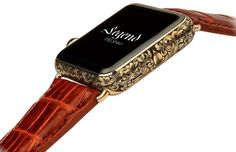 Snazzy Straps To Give Your Apple Watch That Much Needed Makeover Hermes Watch Strap, Christian Louboutin, Leather Folder, Best Face Mask, Face Masks, Gold Apple Watch, Hand Engraving, Vintage Leather, Cool Watches