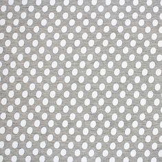 White Oval Dots on Heather Grey Cotton Jersey Blend Knit Fabric - White oval shape dots on heather grey rayon jersey blend knit.  Fabric is soft and drapey, light weight, with a nice stretch.  Please note that dots are screen printed onto the fabric giving a slightly dimpled effect.  Dots measure 1.25cm x 1cm (see image for scale).  A versatile fabric that is great for many uses!  ::  £7.45