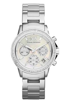 See more. AX Armani Exchange Crystal Bezel Chronograph Bracelet Watch, 35mm  available at  Nordstrom Stainless Steel 9f173ab27d7
