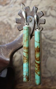 Turquoise Barrel Earrings. I have red earrings very similar to this. I'd like to have some in every color ^-^