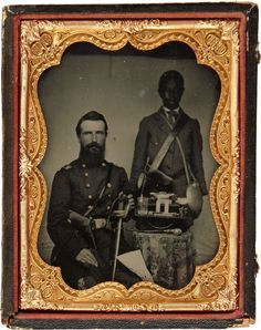 ca. 1860's, ambrotype portrait of Union colonel Benjamin Franklin Watson with his servant and a table with an assortment of objects