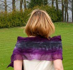Nuno Felted Silk Scarf, Purple Silk Scarf, Art Scarf by Filtil