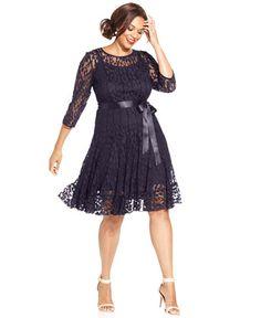 MSK Plus Illusion Floral Lace Dress