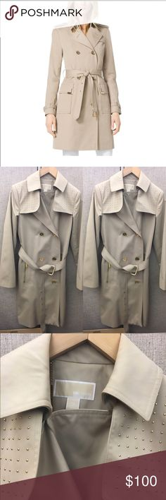 Michael Kors Women's Trench Coat Michael Kors Women's Trench Coat, Gold studs on shoulder. Gold buttons to close and adorable belt. First photo stock photo, wanted to give idea of fit. Offers welcome looking to sell  Michael Kors Jackets & Coats Trench Coats