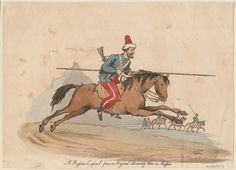 A Russian Cossack from an original drawing done in Russia (1813). Color engraving; mounted figure in military costume with lance, galloping towards right, landscape background with small military figures. From the Anne S.K. Brown Military Collection