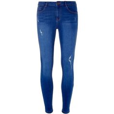 Dorothy Perkins Bright Blue Abrasion 'Darcy' Authentic Super Skinny... ($44) ❤ liked on Polyvore featuring jeans, blue, dorothy perkins jeans, dorothy perkins, blue jeans, skinny leg jeans and skinny jeans