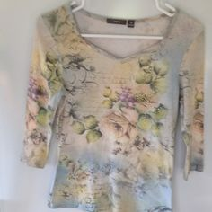 Sequined  Three-quarter sleeve top Sequences on front. Gently worn. Apt. 9 Tops