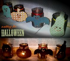 DIY Halloween candles- you will need: jars, glue and scrapbooking paper figures