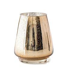 SHIMMER HURRICANE Antique Mercury Glass Golden Hurricane Candle