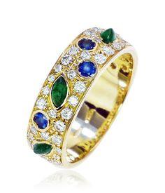 Schmuck Exclusiver Bandring mit Diamanten, Saphiren und Smaragden, 750 Gold  ein dankeschön
