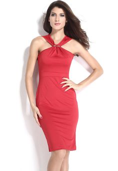 Halter Neck Red Midi Bodycon Dress Knee Length Curve Clinging