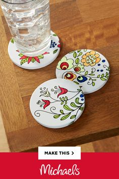 Cricut® Infusible Ink™ is new technology that results in permanent and professional transfers. Make these Floral Coasters to match your home décor! Rock Crafts, Clay Crafts, Diy Clay, Fun Crafts, Diy And Crafts, Crafts For Kids, Arts And Crafts, Sharpie Crafts, Rock Painting Designs