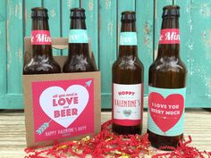 Valentines Beer Labels Valentines Gift for Him by PaprikaPaperie