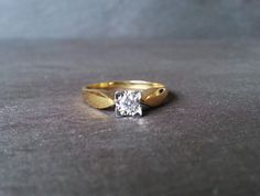 18 Carat Gold Square Cut Diamond Engagement Band Ring by ArahJames