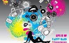 Elementos de fiesta en vectores Vector Graphics, Vector Art, Packing A Cooler, Music Backgrounds, Art Template, Party Flyer, Design Elements, Screen Printing, Graphic Design