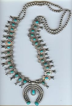 DELUXE VINTAGE NAVAJO INDIAN STERLING TURQUOISE SQUASH BLOSSOM NAJA NECKLACE