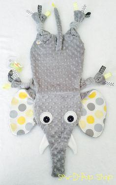 Neutral Baby Blanket Elephant Toy Pacifier Keepsake Friend