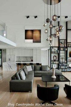 Home Interior Design: High Ceiling Decorating Ideas Home Living Room, Living Room Designs, Living Room Decor, Living Spaces, Living Area, Condo Living, Home Interior, Interior Architecture, Luxury Interior